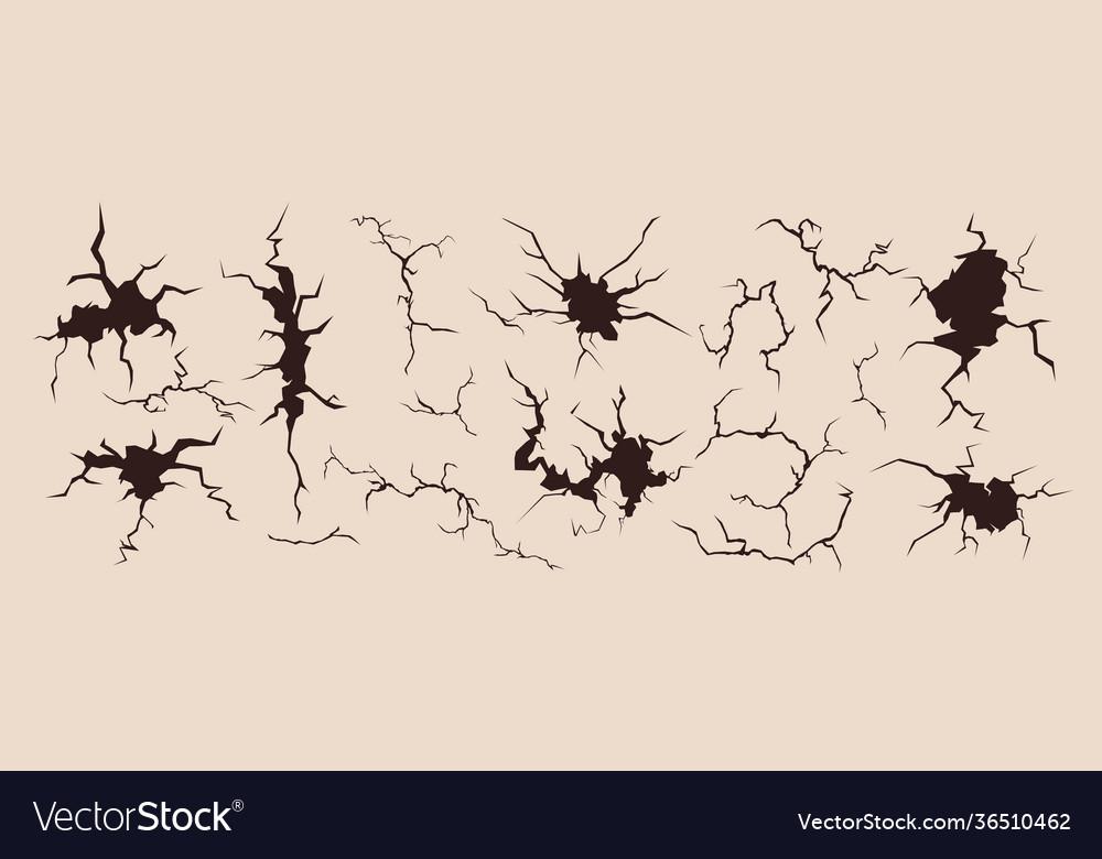 Crack broken surface set ink broken rift effect
