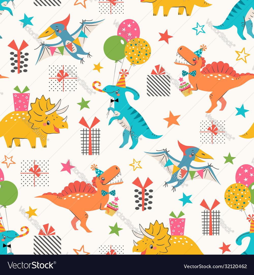 Dino birthday party pattern
