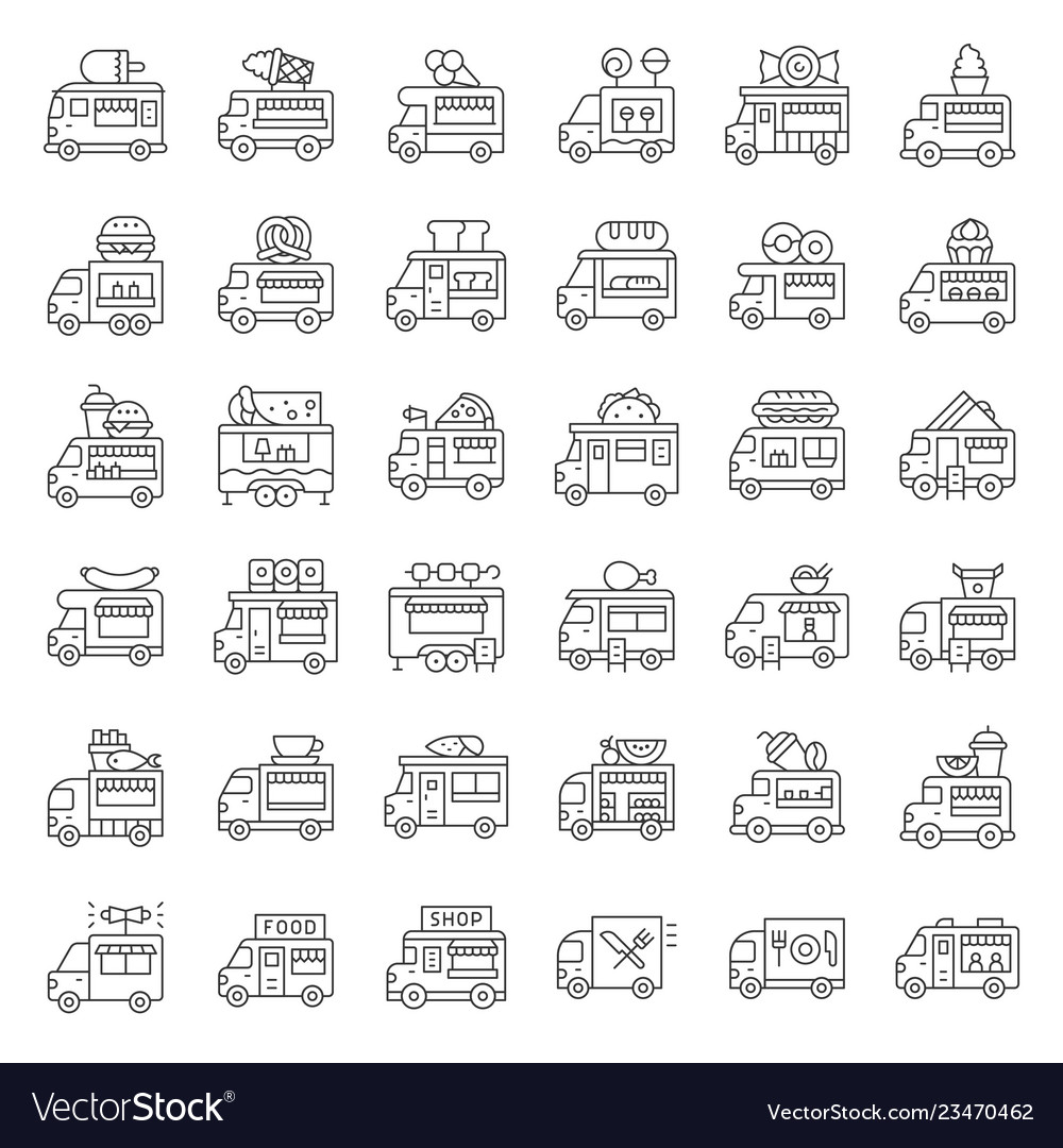 Food truck icon set line style editable stroke