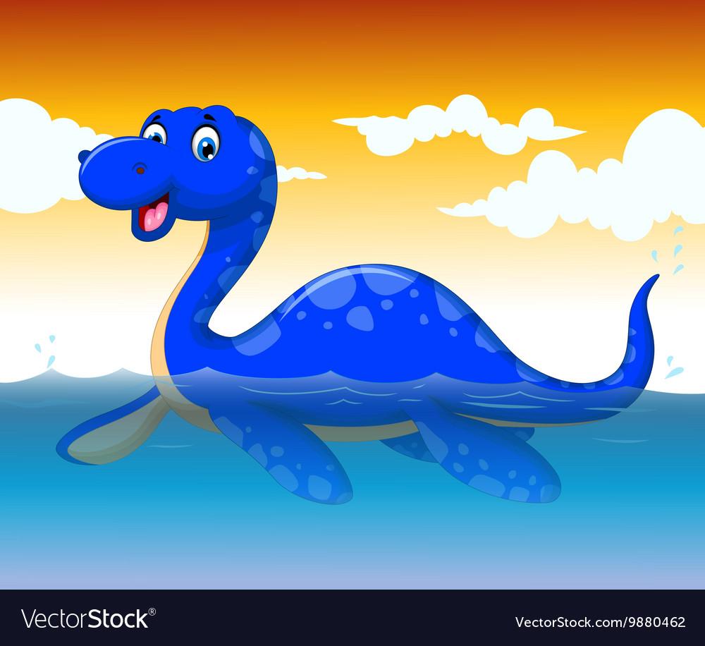 Funny dinosaur cartoon swimming with sea life
