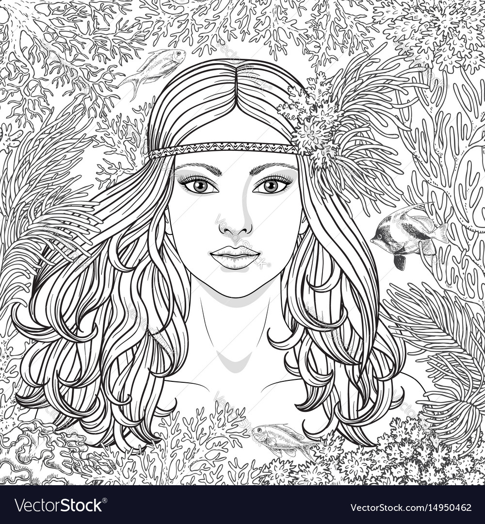 Girl among the corals coloring page