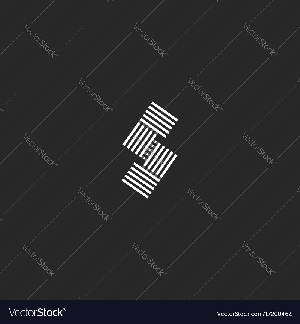 Letter s logo monogram parallel black and white vector image