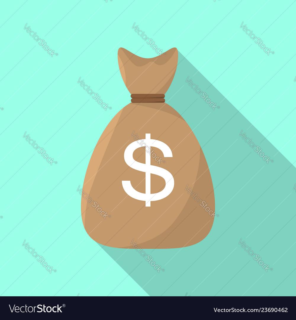 Money bag icon flat style