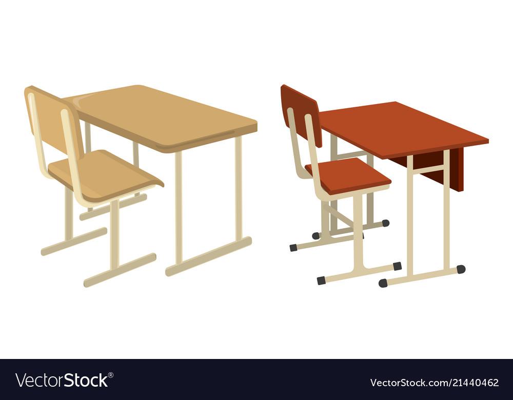 School desk school supplies icon and logo