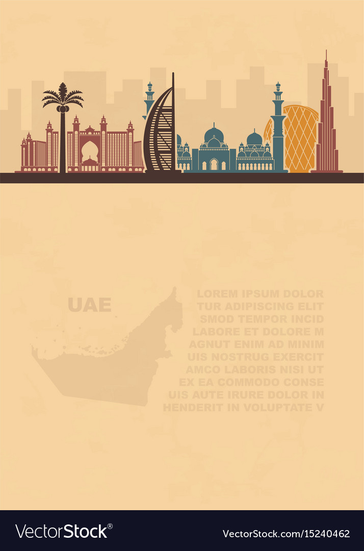 Template leaflets with a map of the uae and dubai