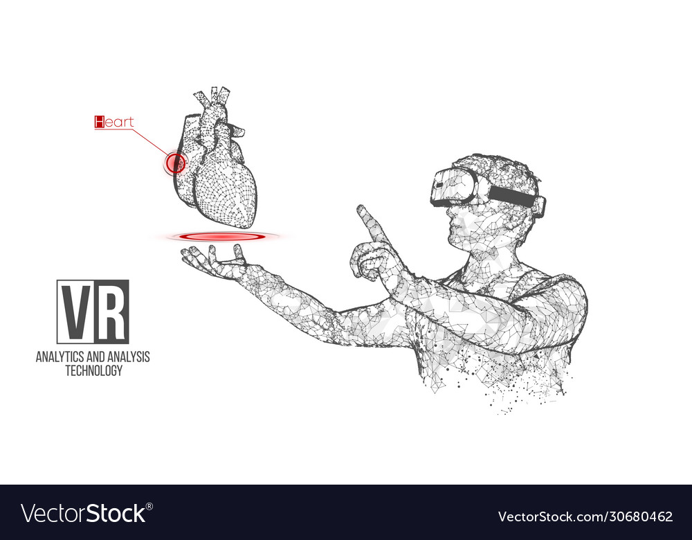 Vr wireframe headset man with heart banner