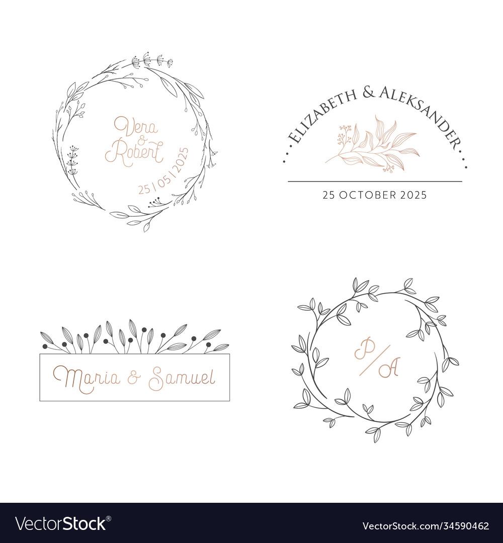 Wedding floral monogram modern collection