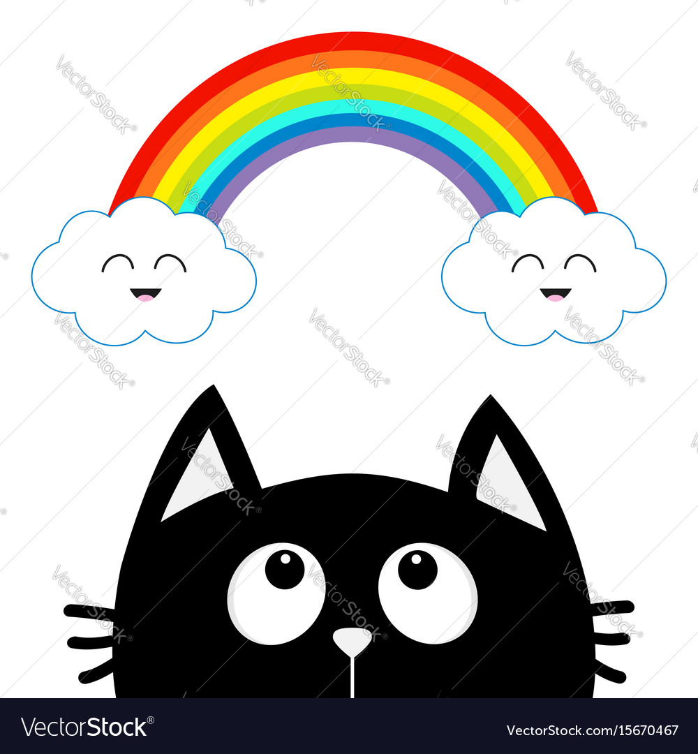 Black cat looking up to cloud and rainbow with