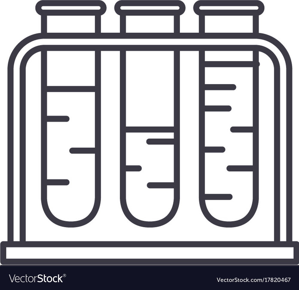 Blood test line icon sign on vector image