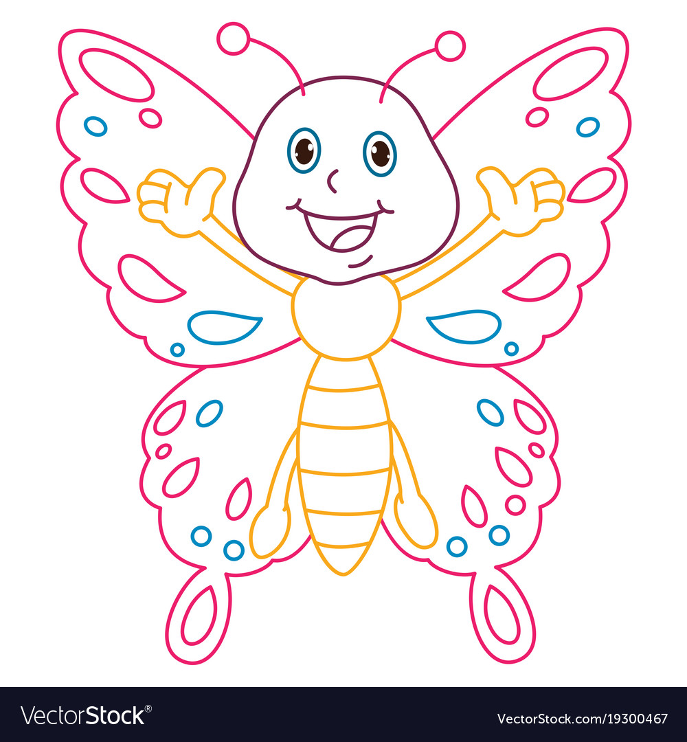 Coloring page of cartoon butterfly