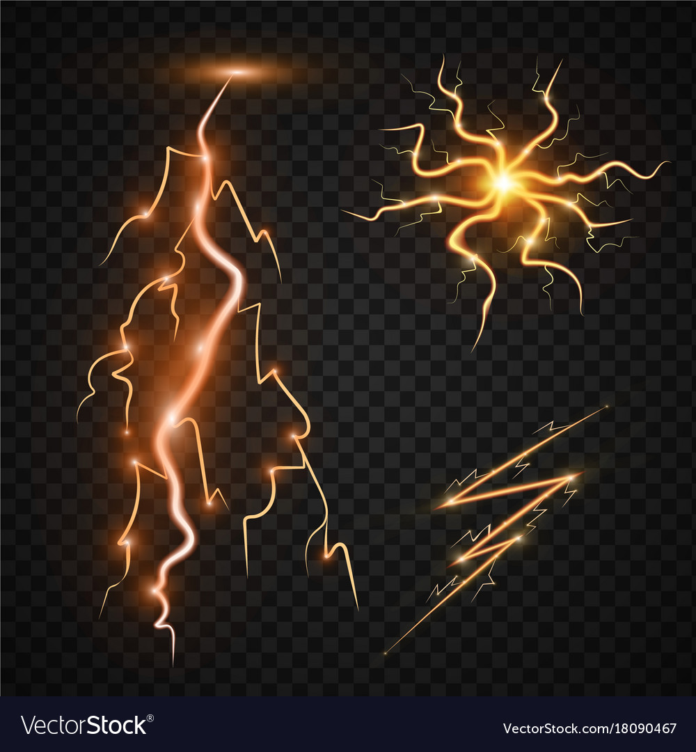 Lightning Bolt Storm Strike Realistic 3d Light Vector Image
