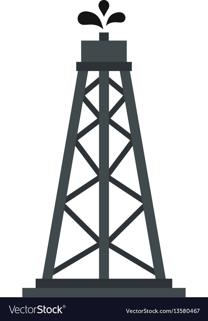 Oil rig icon flat style
