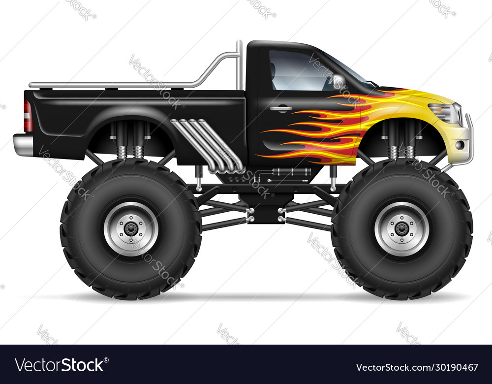 Realistic Black Monster Truck Royalty Free Vector Image