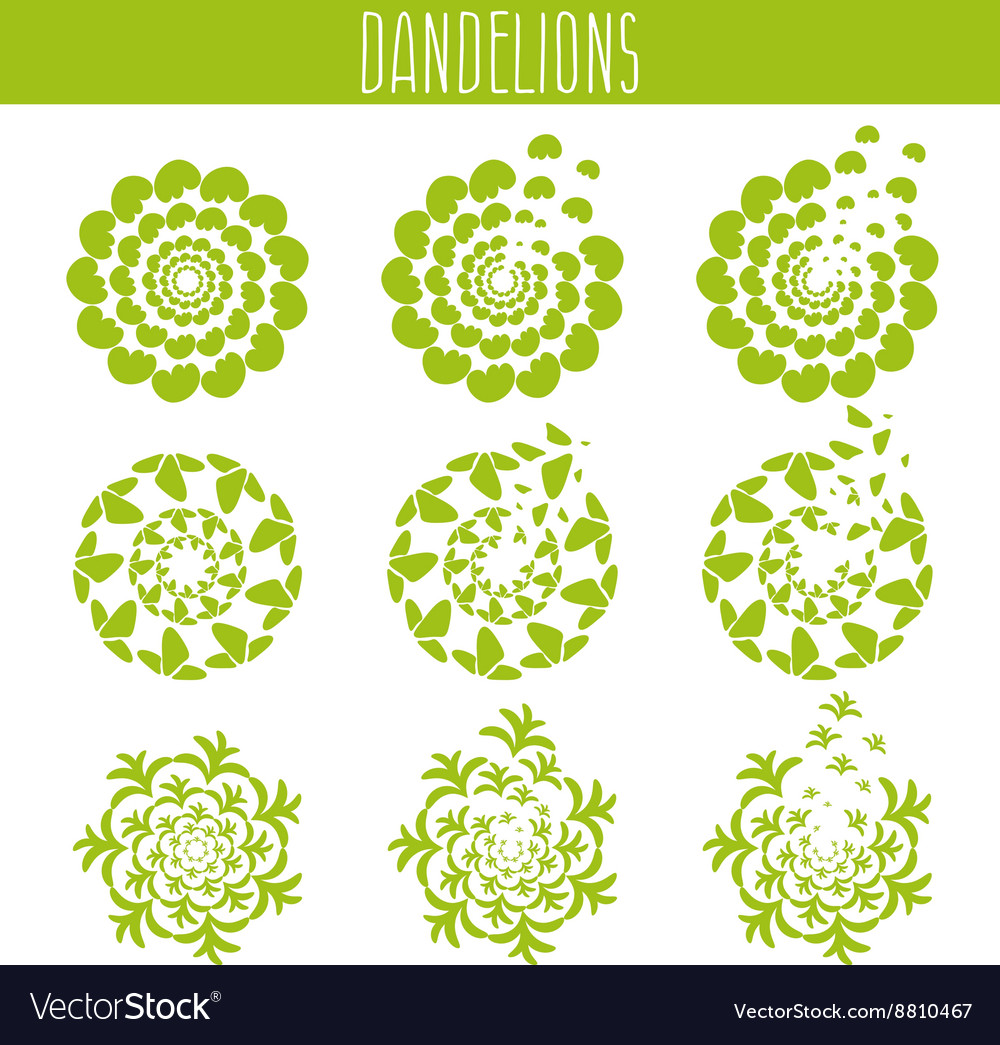 Set of abstract cute dandelions template