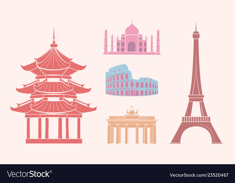 Sfamous sights and attractions on travel stickers