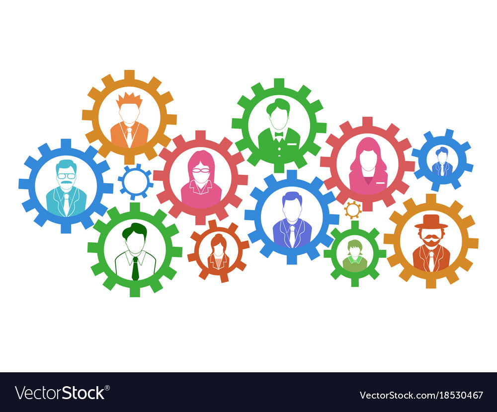 Teamwork gears concept background vector image