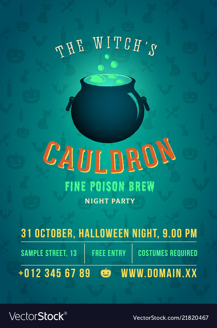 The boiling and glowing witch cauldron
