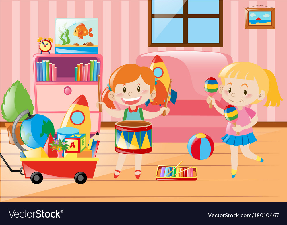 Two Girls Playing In Living Room Full Of Toys Vector Image