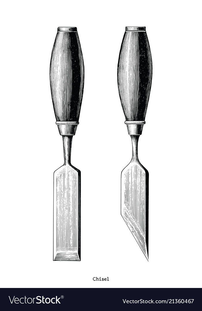 Vintage chisel hand drawing clip art isolated on