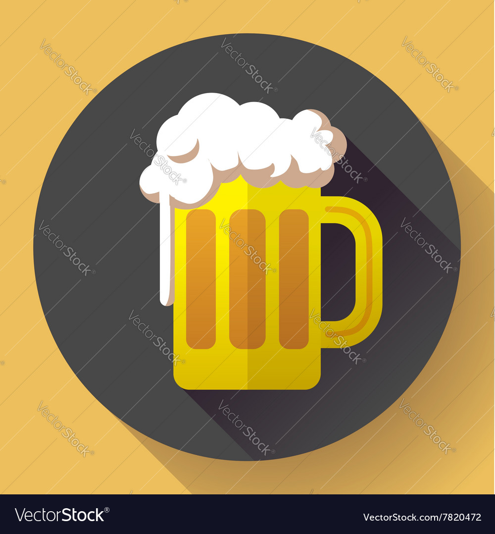 Beer glass cup icon Oktoberfest logo Flat
