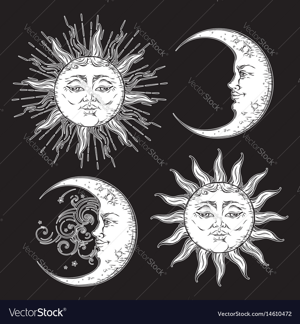 Boho chic flash tattoo design sun and moon set