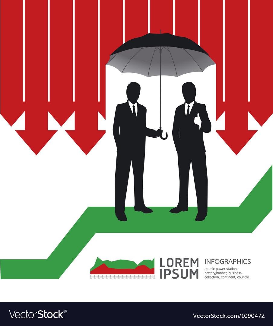 Businessman in umbrella creative finance safe