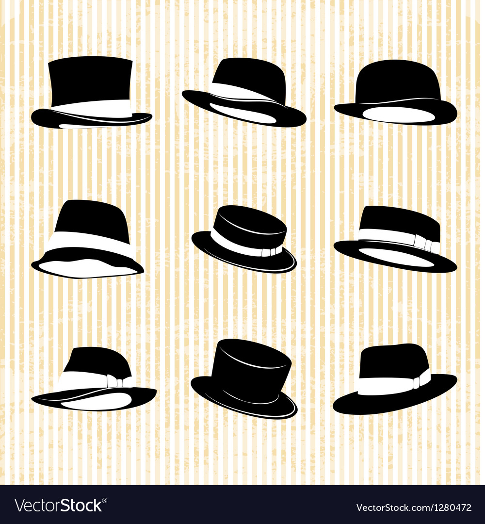 Collection of Vintage Hats vector image