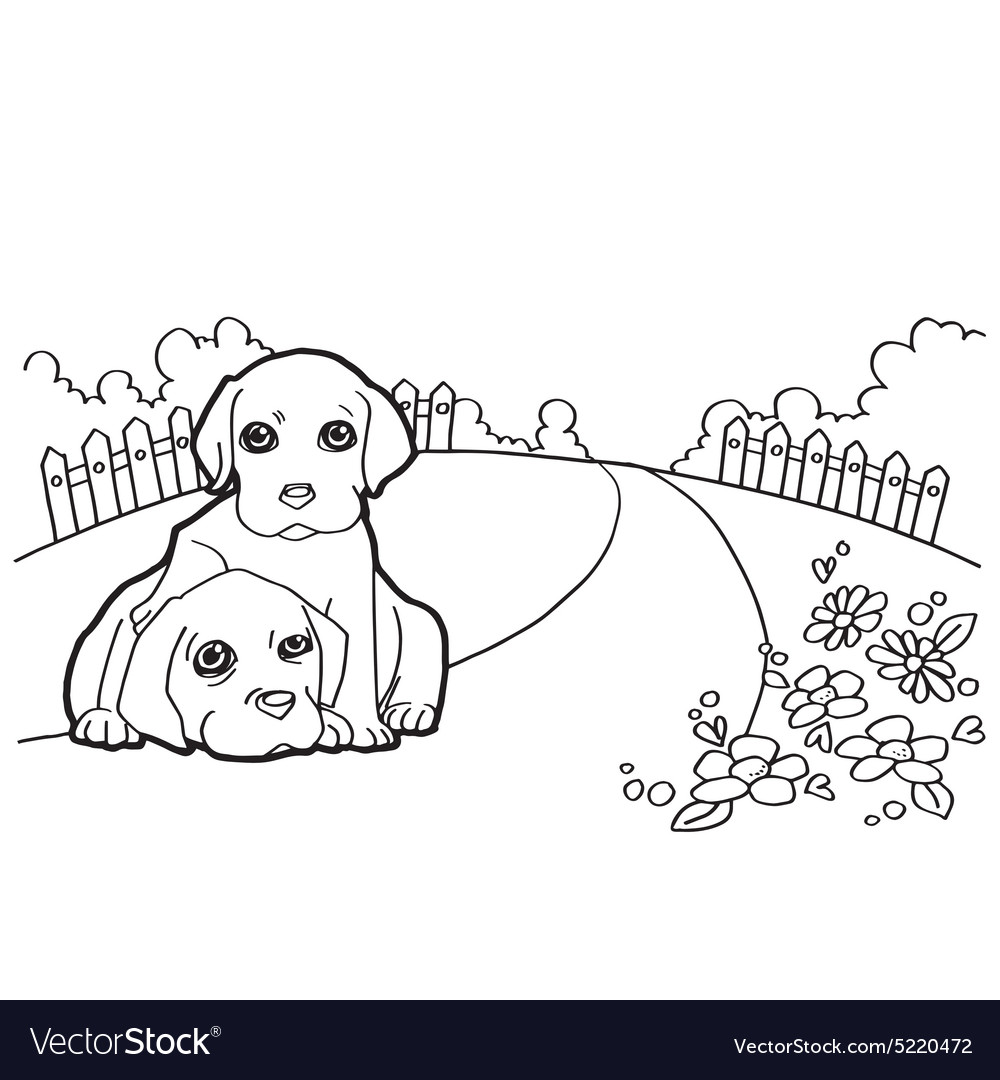 Coloring book with dog and landscape Royalty Free Vector