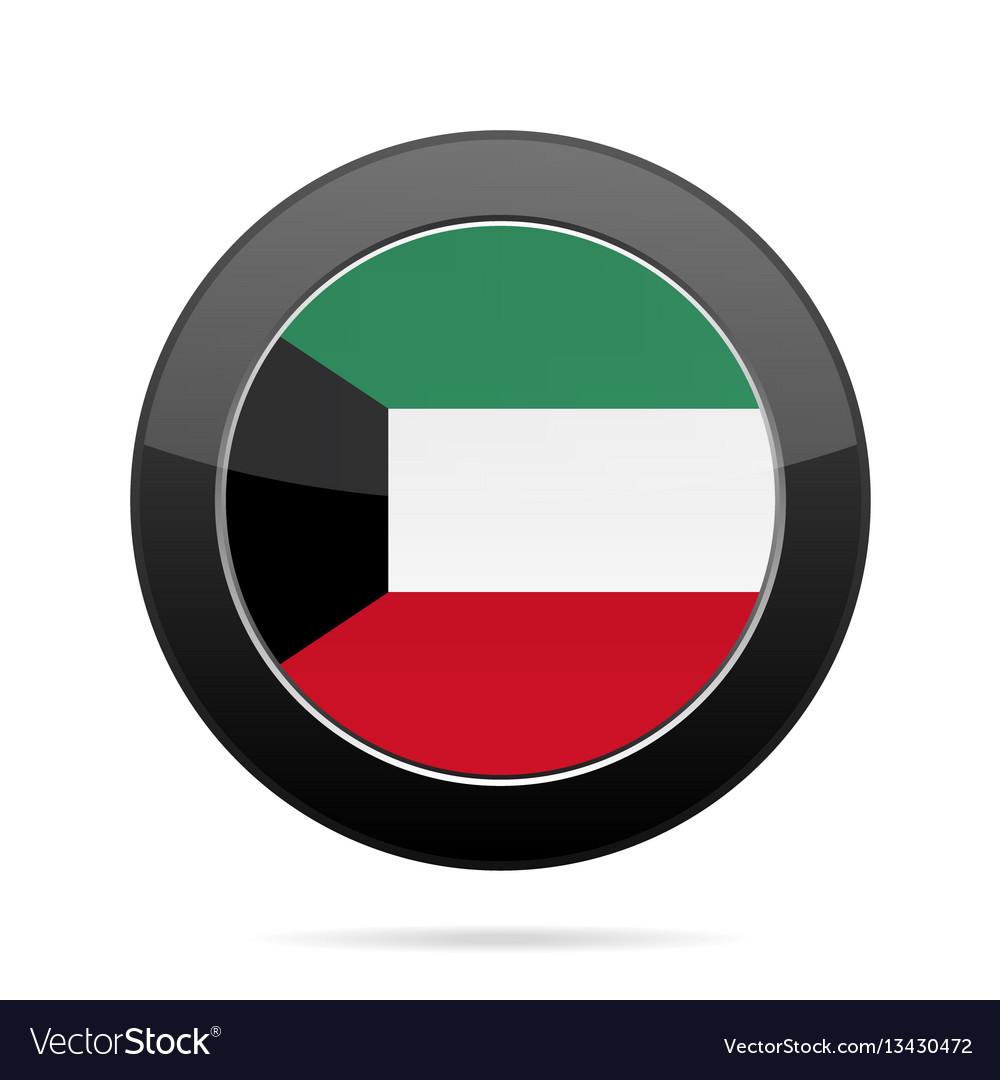 Flag of kuwait shiny black round button