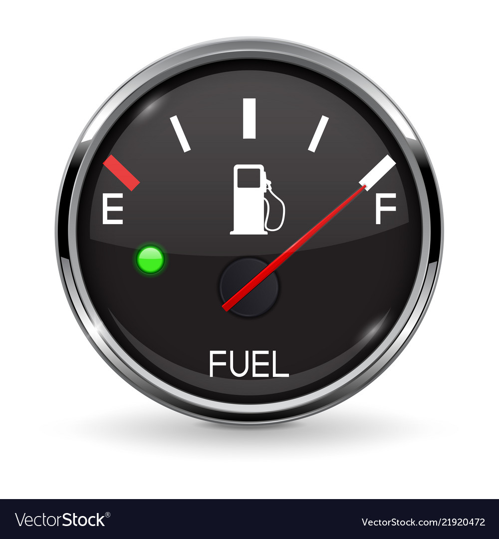 Fuel Gauge Full Tank Round Black Car Dashboard Vector Image