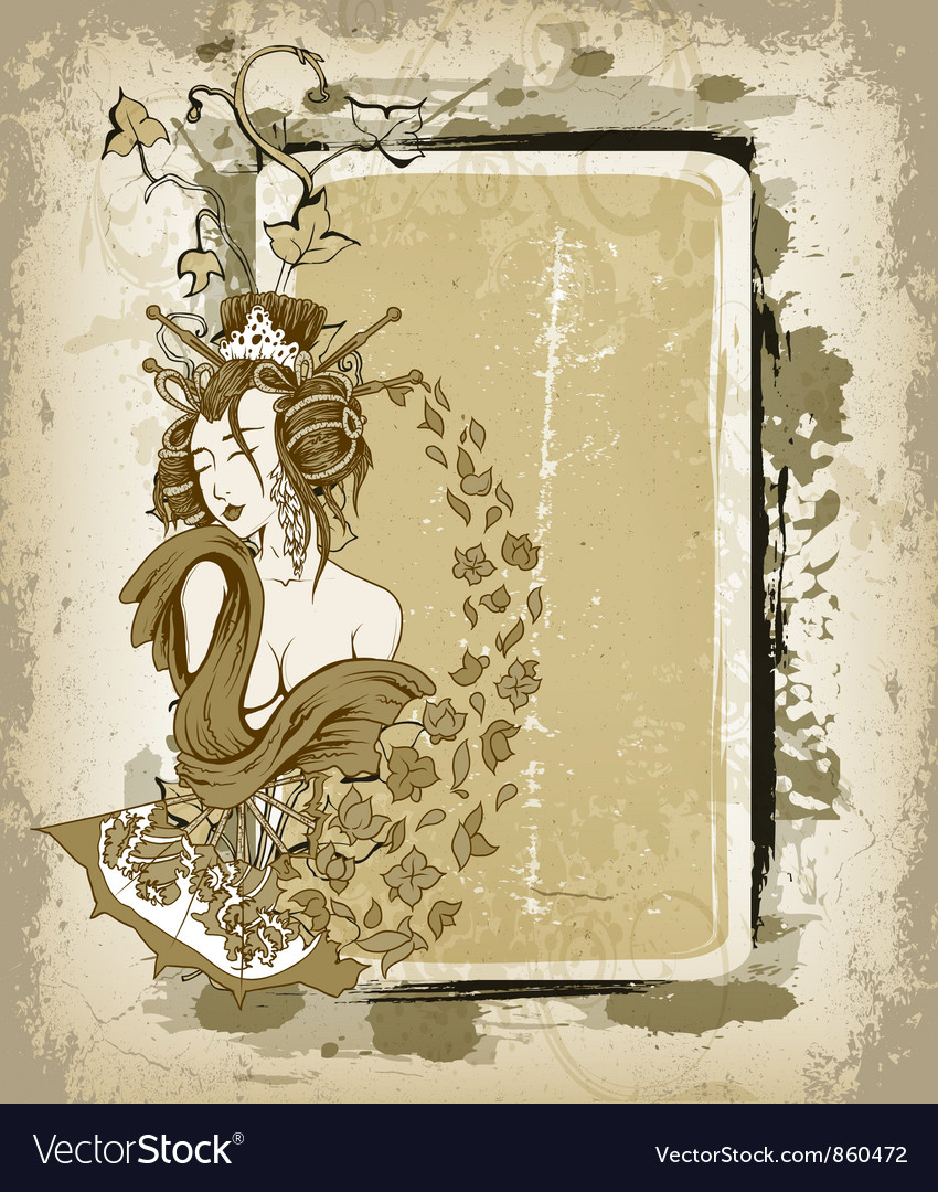 Geisha with floral grunge frame vector image