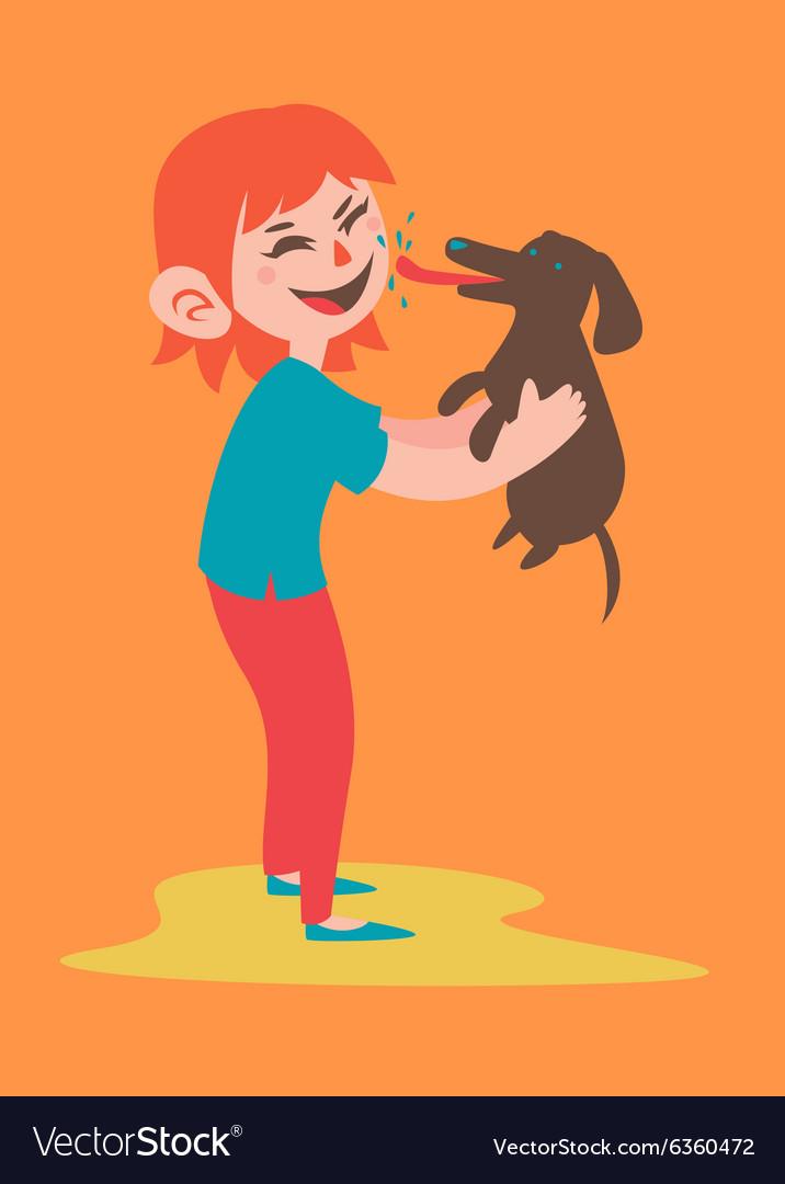 Happy Girl Holding her Dog