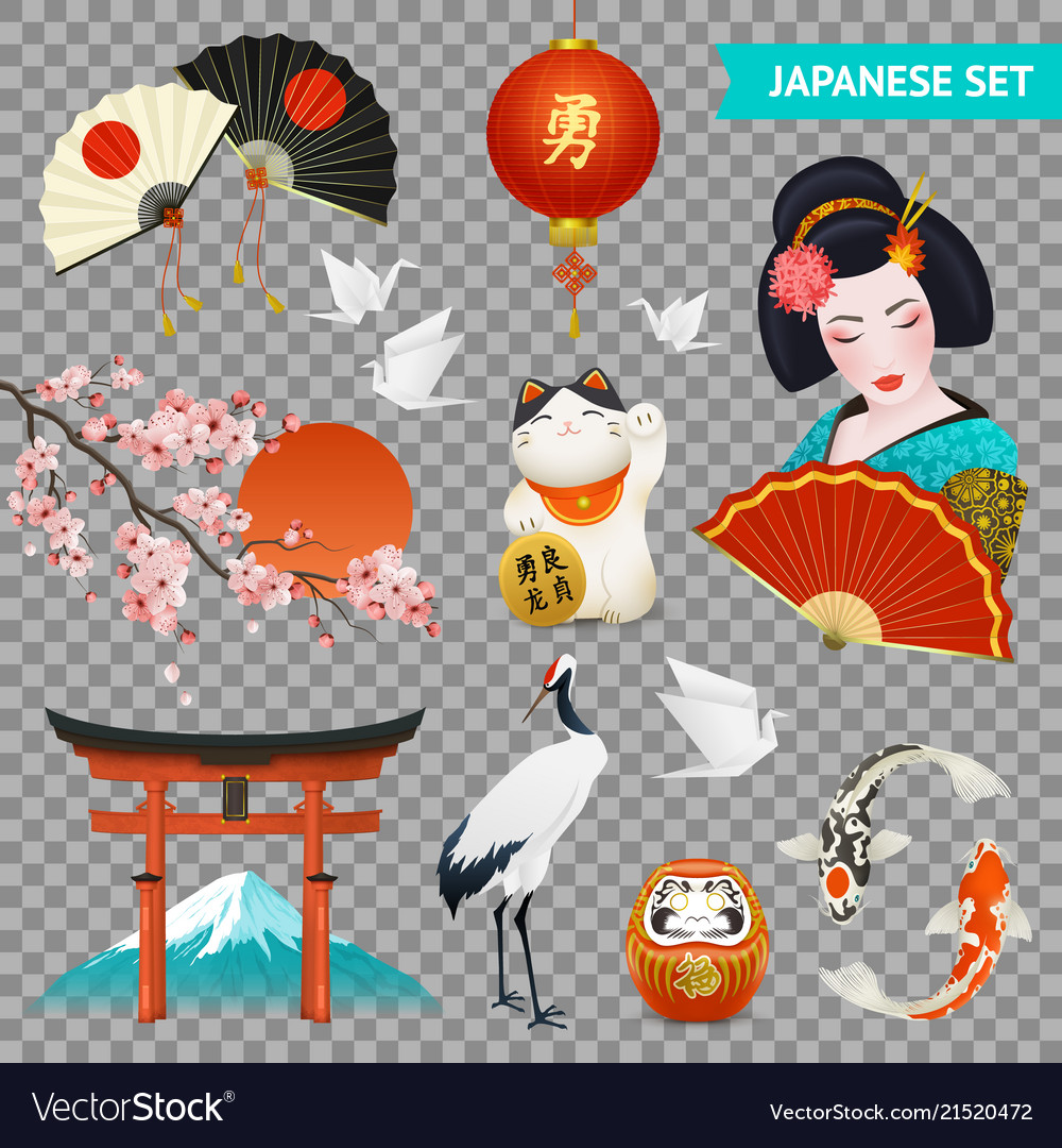 Japanese symbols set transparent