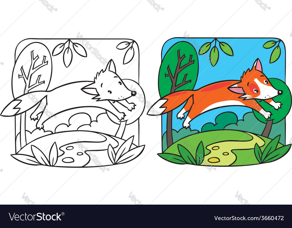 Little red fox coloring book