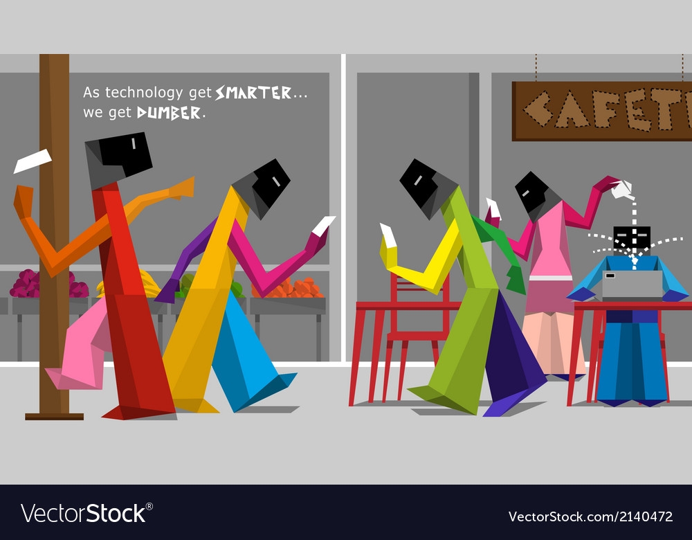 Modern life-style of people ignoring each vector image