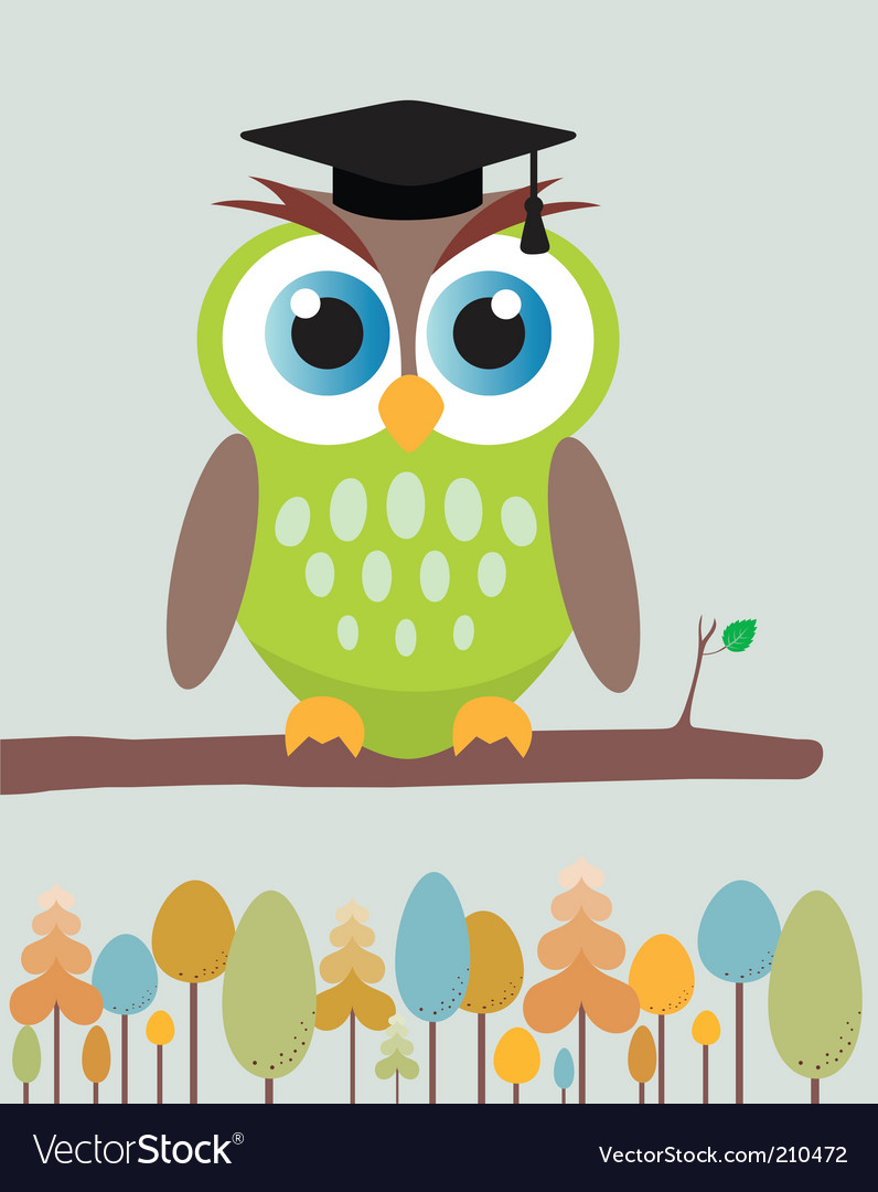 Owl with mortar board hat