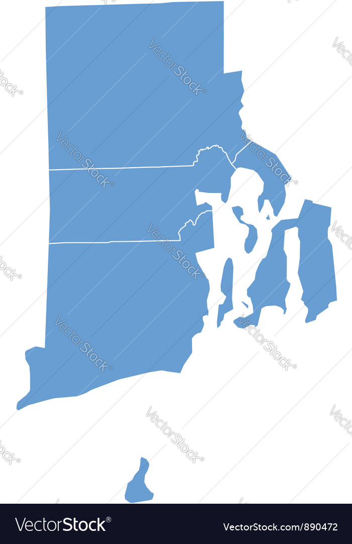 State Map of Rhode Island by counties Royalty Free Vector