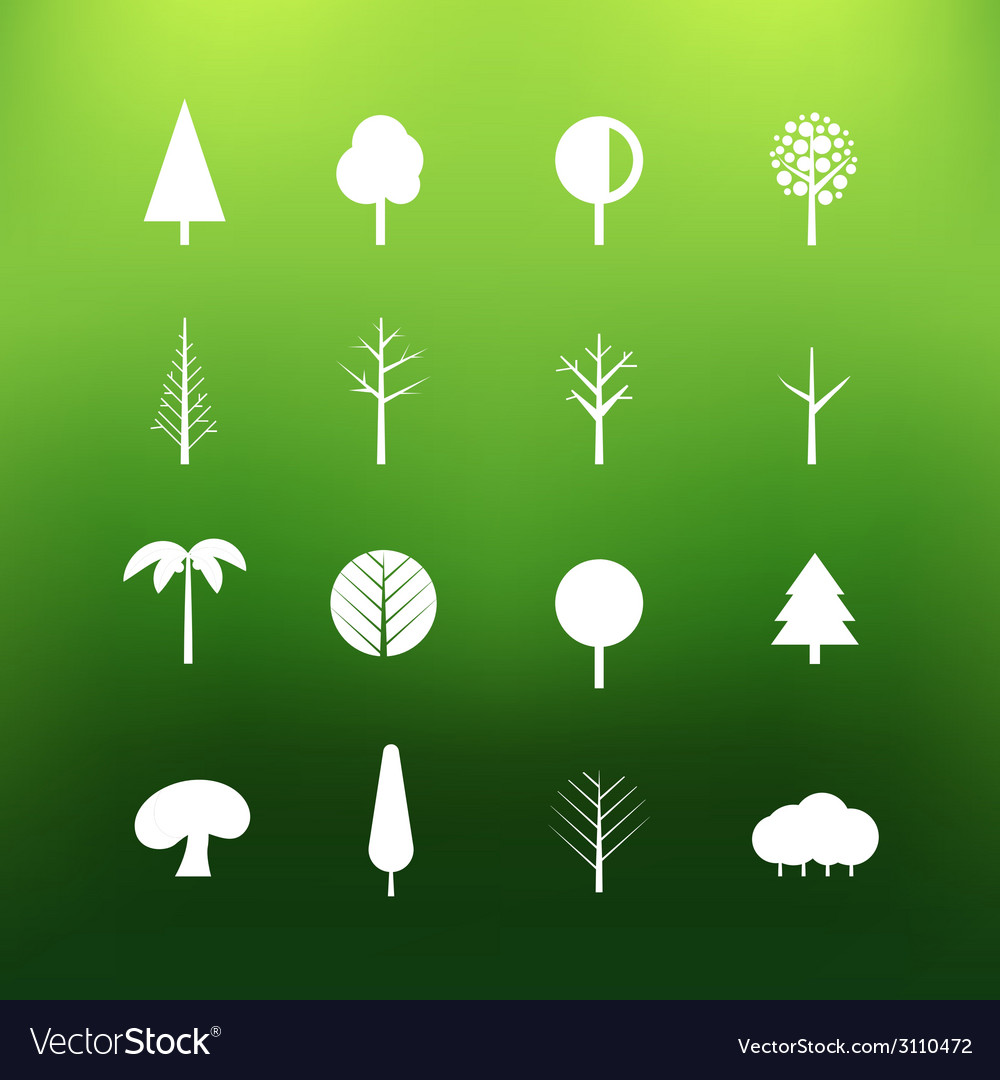 White tree icons clip-art on color background Vector Image