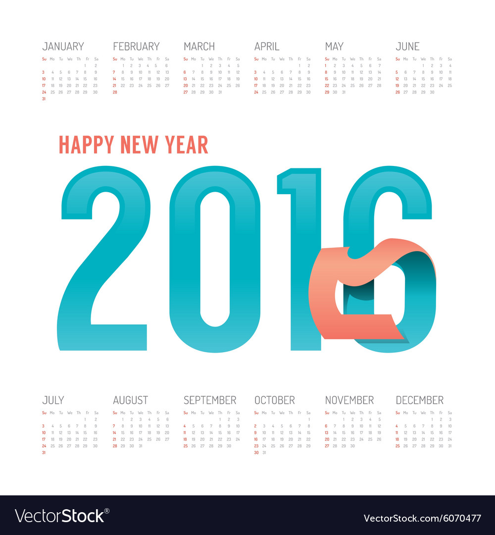 2016 Calendar colorful happy new year design