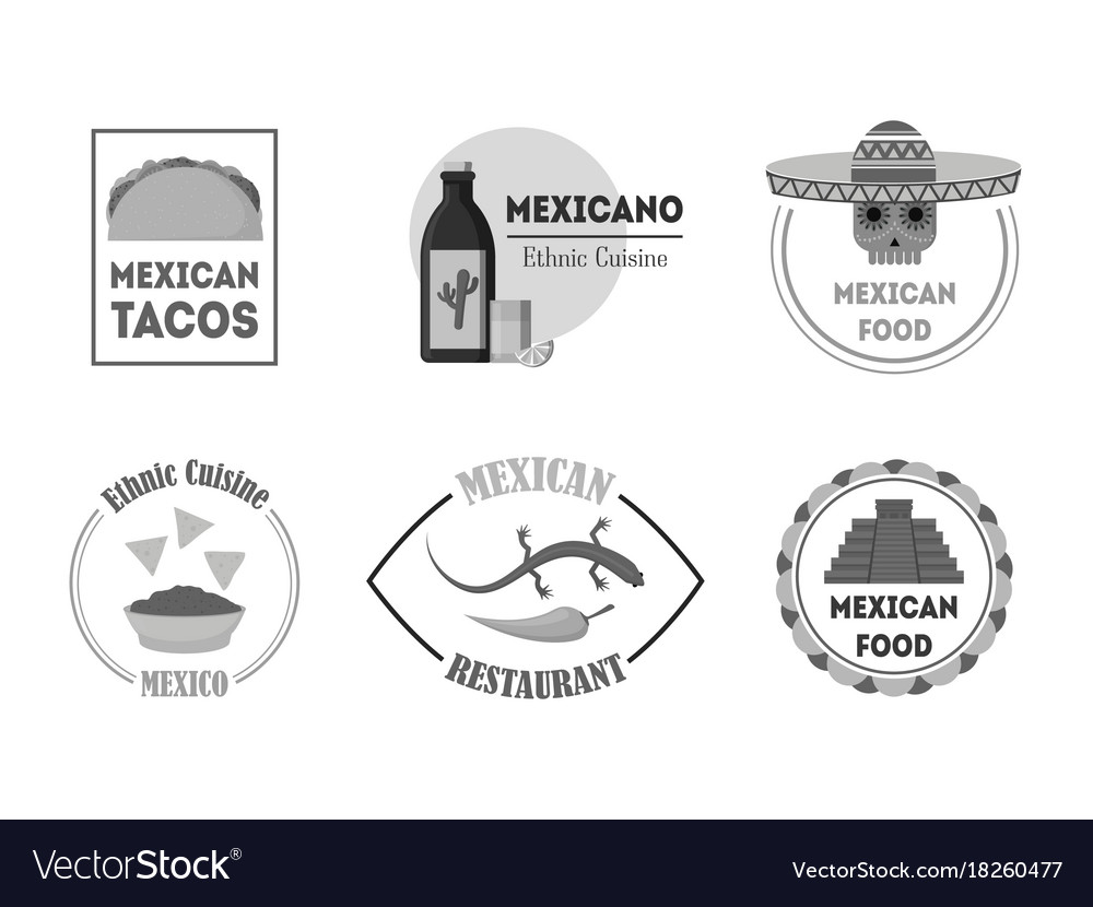 Cartoon silhouette black mexican food badges or