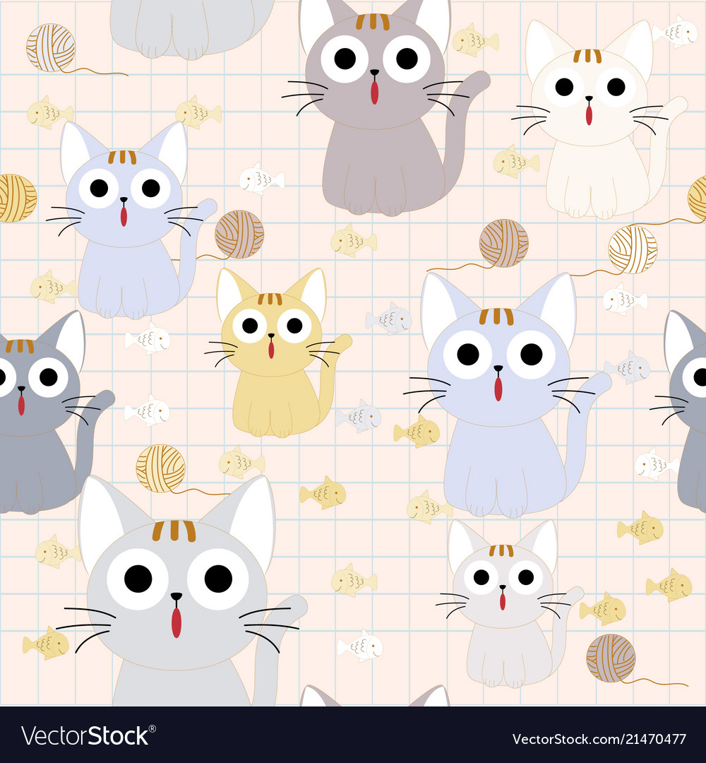 Cute funny cat seamless pattern