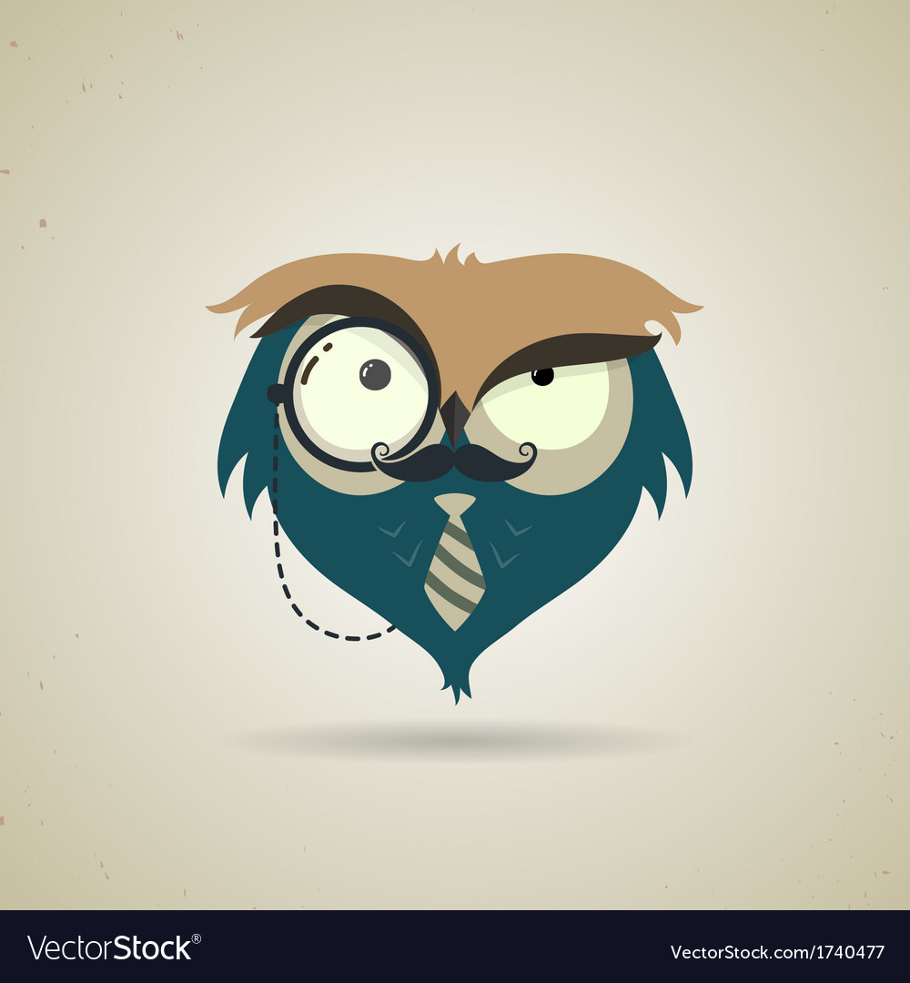 Cute little blue and grey cartoon hipster owl vector image