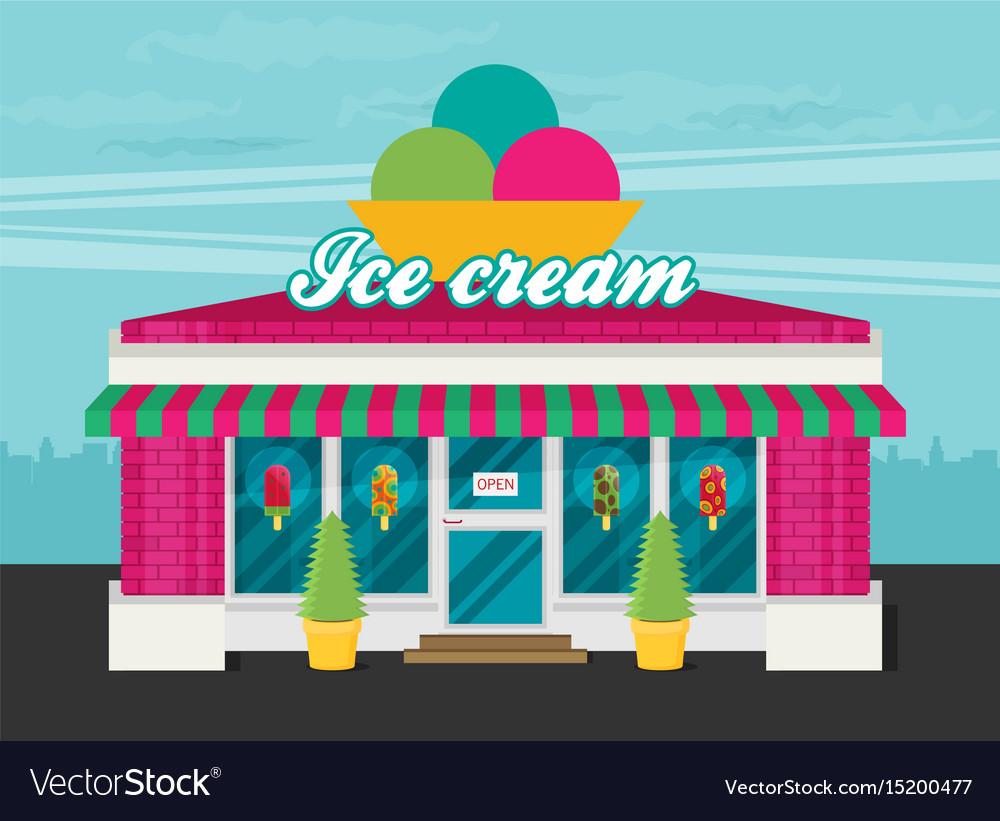 Facade of ice cream shop flat