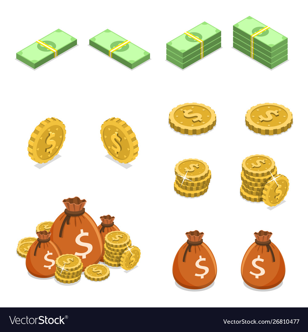 Isometric flat concept money such as