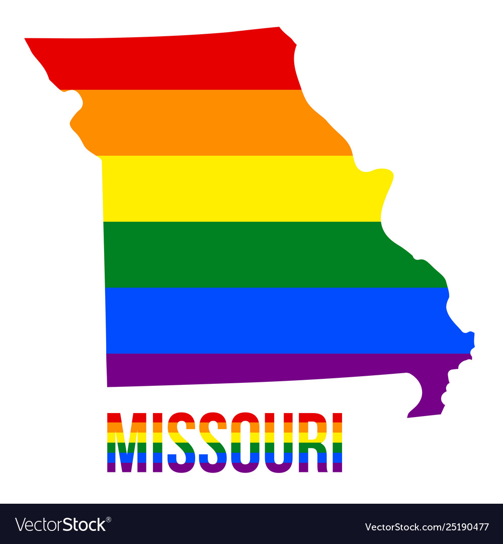 Missouri state map in lgbt rainbow flag comprised
