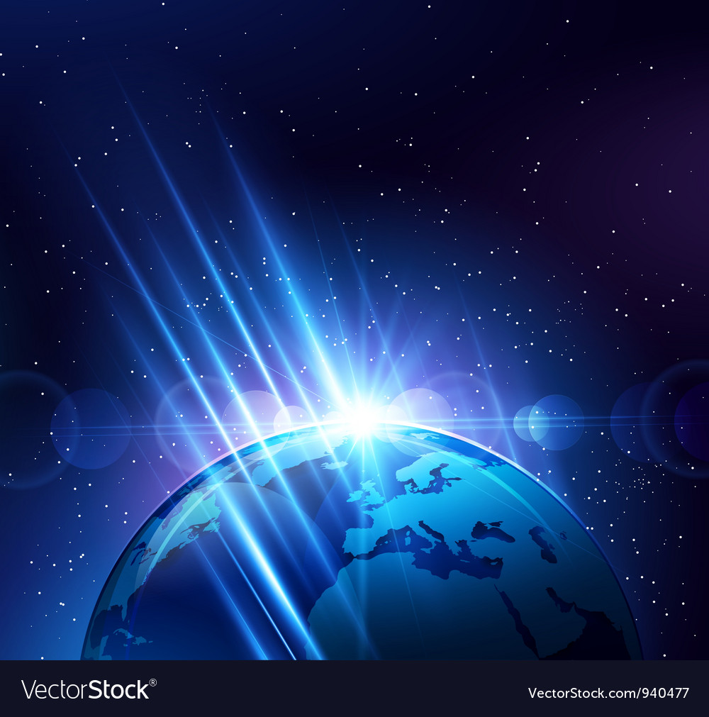 Planet earth in the bright rays of light vector