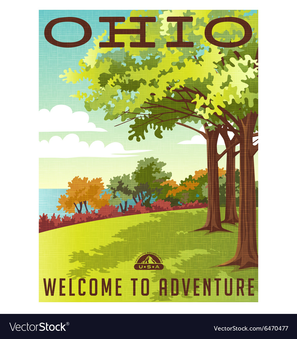 Retro travel poster series Ohio landscape
