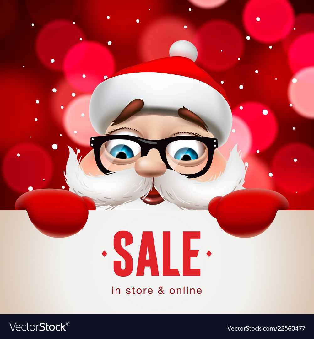Santa claus with big signboard christmas sale