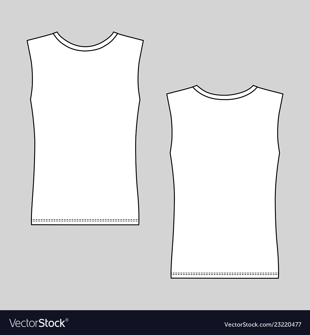 e6c2c8463 Sleeveless t-shirt outlined template front back Vector Image