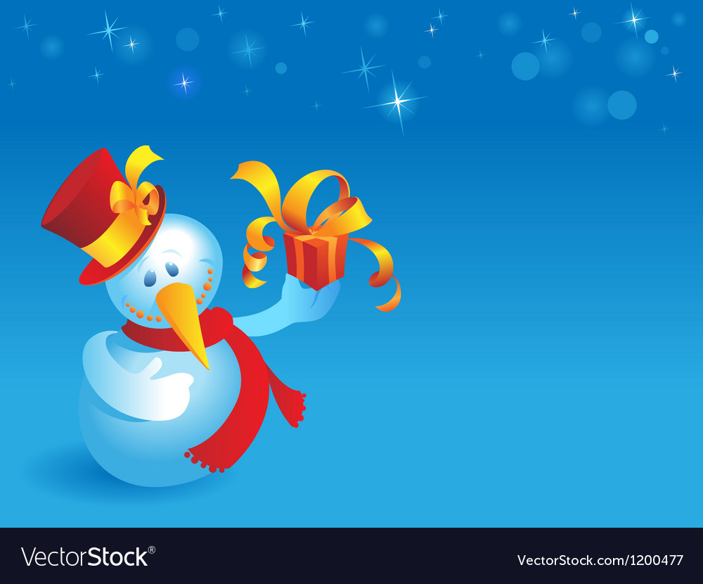 Snowman with gift on blue vector image